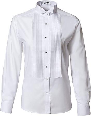 Camisa de esmoquin plisada con cuello de ala para mujer - Blanco - 52: Amazon.es: Ropa y accesorios