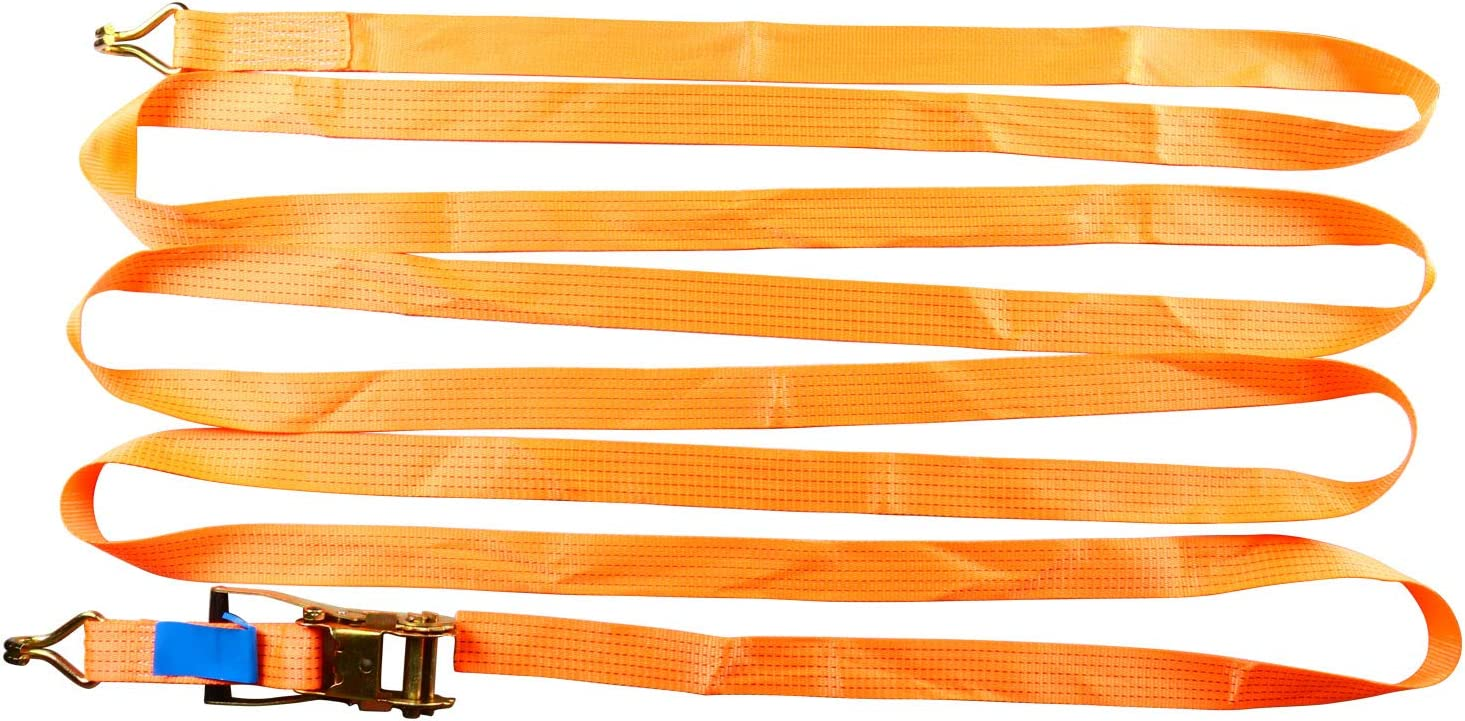 FreeTec Orange 2 x 27 Ratchet Tie Down Strap with double J hooks Compatible for Lawn Equipment and Motorcycles