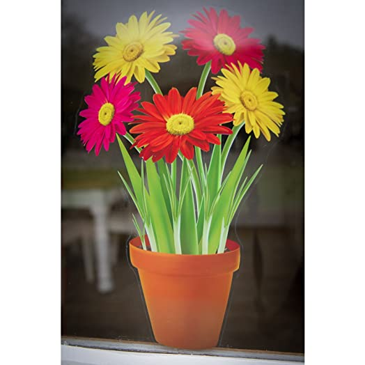 Flowers In A Pot Static Cling Window Sticker Seasonal Window - Window stickers for home uk