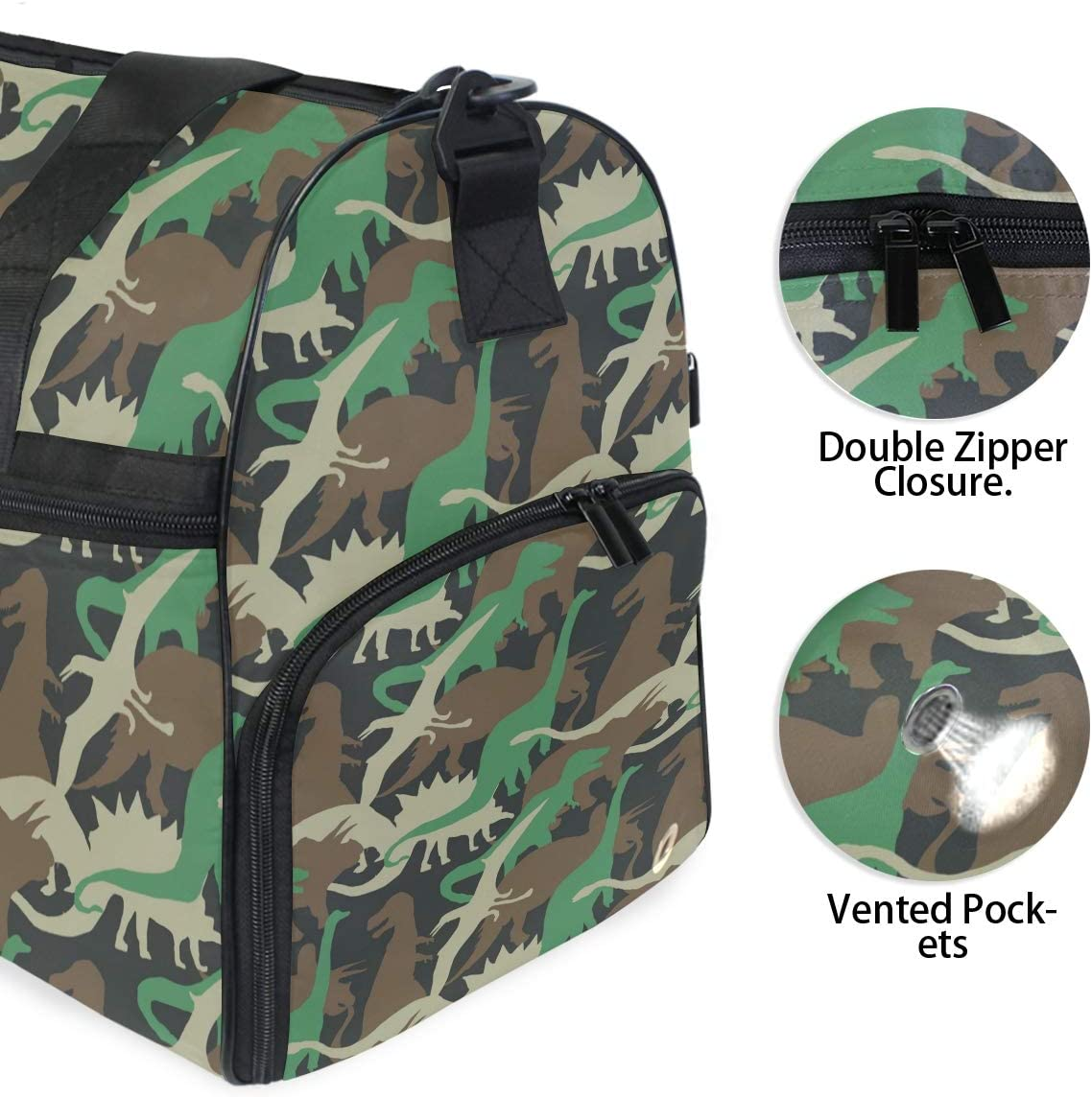 ALAZA Vintage Dinosaur Camo Camouflage Sports Gym Duffel Bag Travel Luggage Handbag Shoulder Bag with Shoes Compartment for Men Women