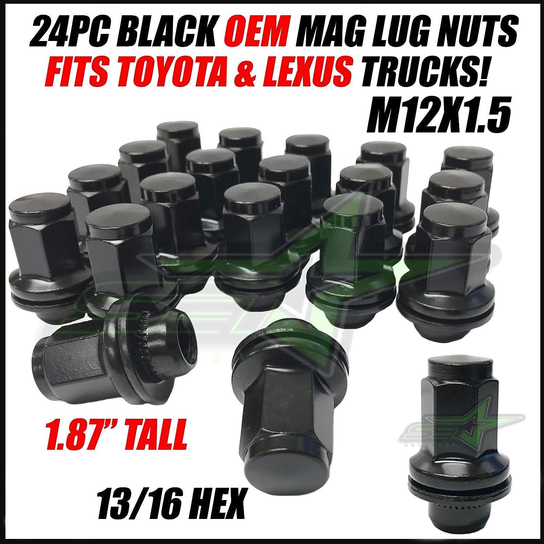 SET Group USA 24Pc 12x1.5 Black OEM Mag Factory Lug Nuts 1.87 Tall Works with Toyota Lexus 4Runner Tacoma FJ Cruiser SR5 Pre-Runner TRD Off-Road GX460