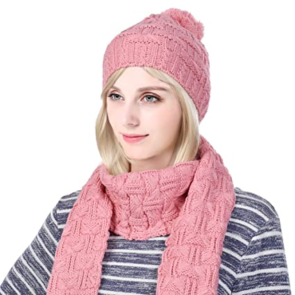 36c1c4ca9e4 Vbiger Warm Winter Knit Hat and Scarf Set