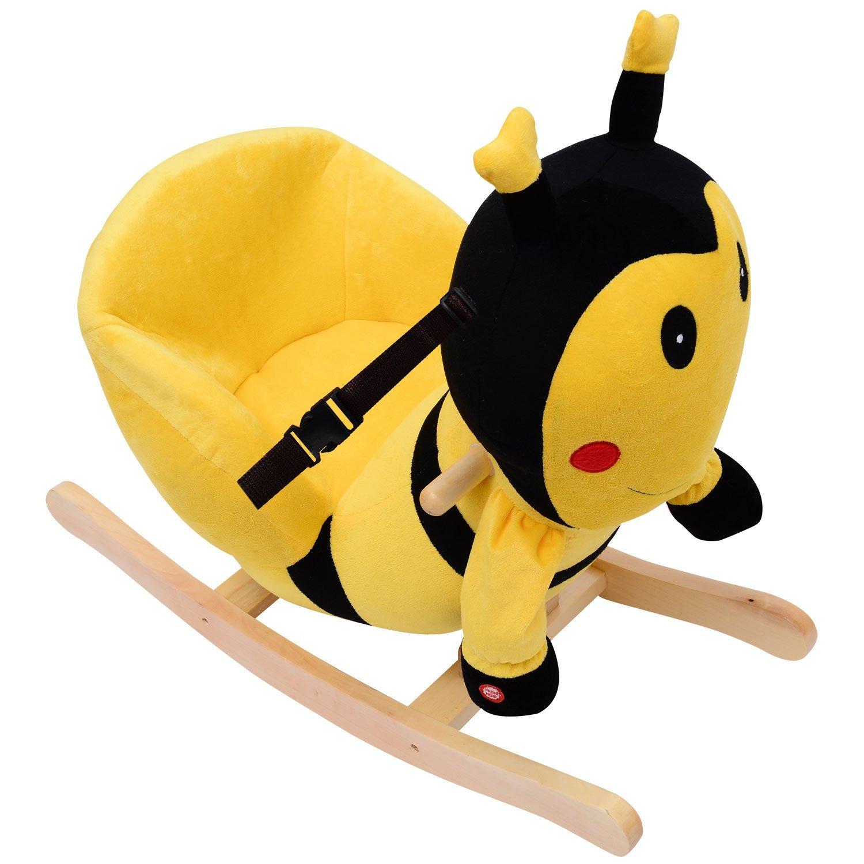 Amazon Qaba Kids Plush Rocking Horse Style Bumble Bee Theme Chair Toys Games