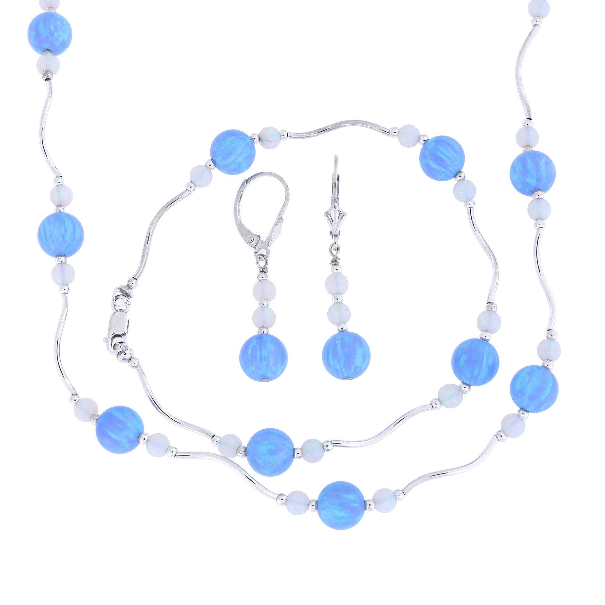 Sterling Silver Rhodium Plated Graduated Simulated Blue and White Opal Station Necklace, Earrings and Bracelet Set