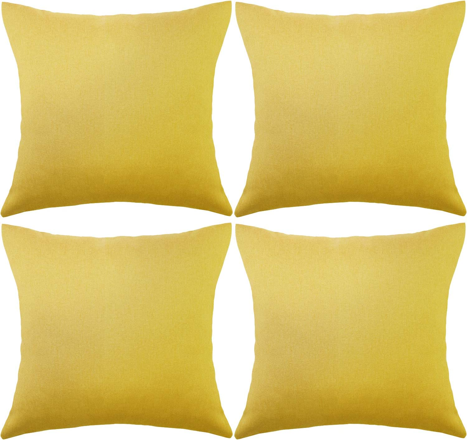 4 Packs Decorative Outdoor Patio Balcony Waterproof Throw Pillow Covers, Square Garden Cushion Case, PU Coating Pillow Shell for Couch, Bed, Patio, Sofa, Tent and Balcony,18 x 18 Inches(Golden Yellow)