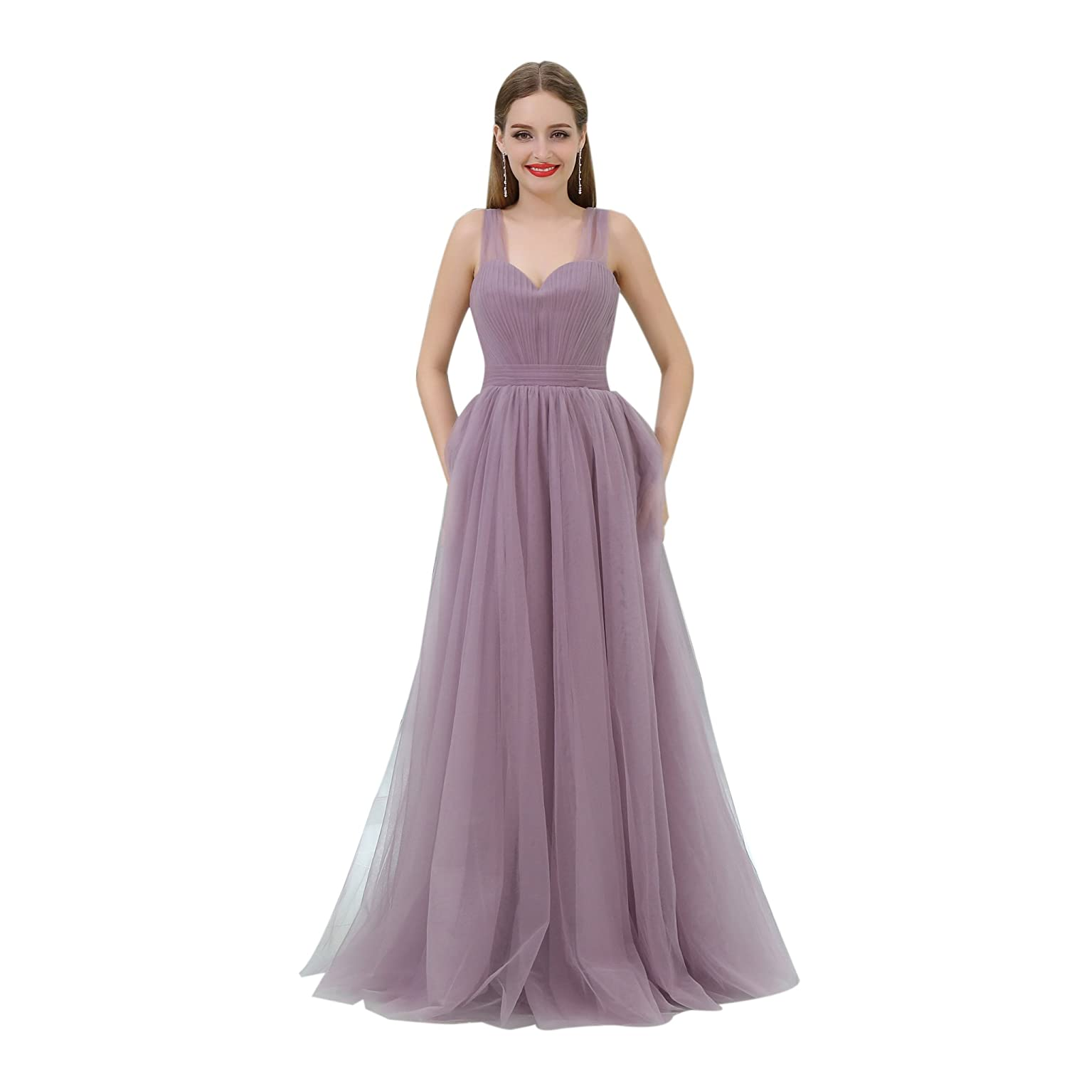 98109de755bbe Meibri Long Light Purple Gown Dress For Evening Party Tulle Prom Dress at  Amazon Women's Clothing store: