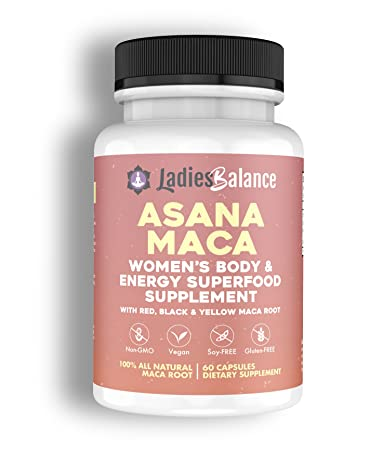 Asana Maca Organic Maca Root Made for Women ~ by LadiesBalance Black, Red & Yellow