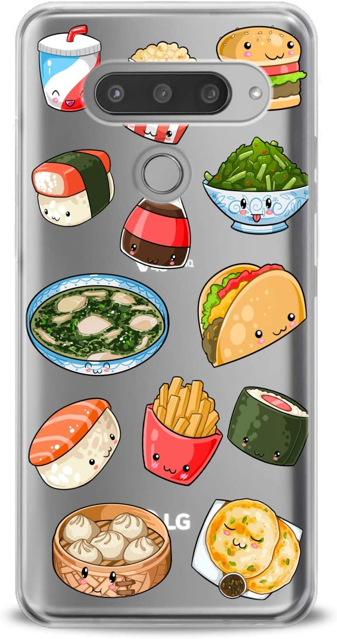 Anreda TPU Case Compatible with LG G8S ThinQ Velvet 5G G7 One Fit G6 V60 V35 V20 Flexible Sushi Girls Fast French Kawaii Design Soft Print Food Junk Cute Clear Fries Smooth Slim fit Cute Cover Taco