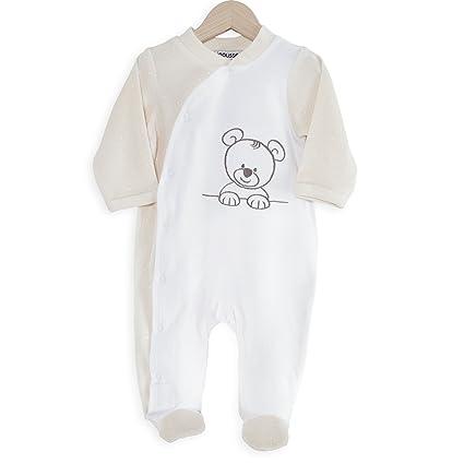 95571998db538 Kinousses Grenouillère Pyjama pour Bébé Nino le Petit Ourson Blanc 0 Mois