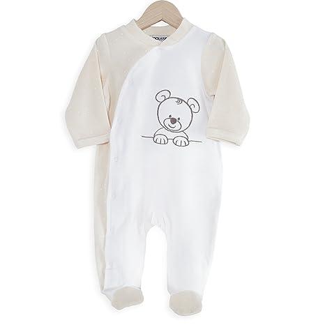 7dcb8f72dc80 Kinousses Grenouillère Pyjama pour Bébé Nino le Petit Ourson Blanc 0 Mois