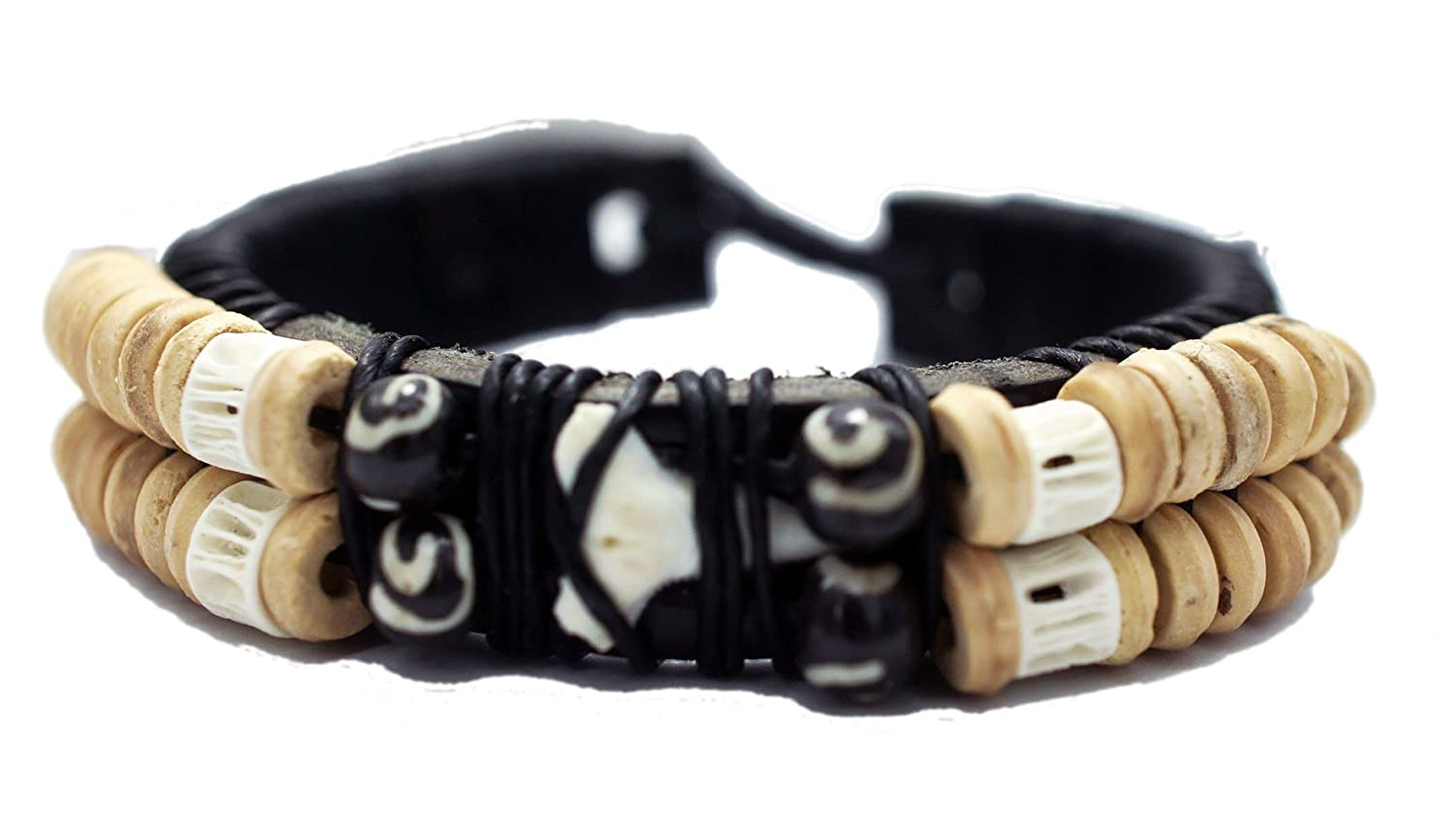 Men's Handmade Shark Tooth Wood Beads Leather Cuff Caribbean Style Bracelet