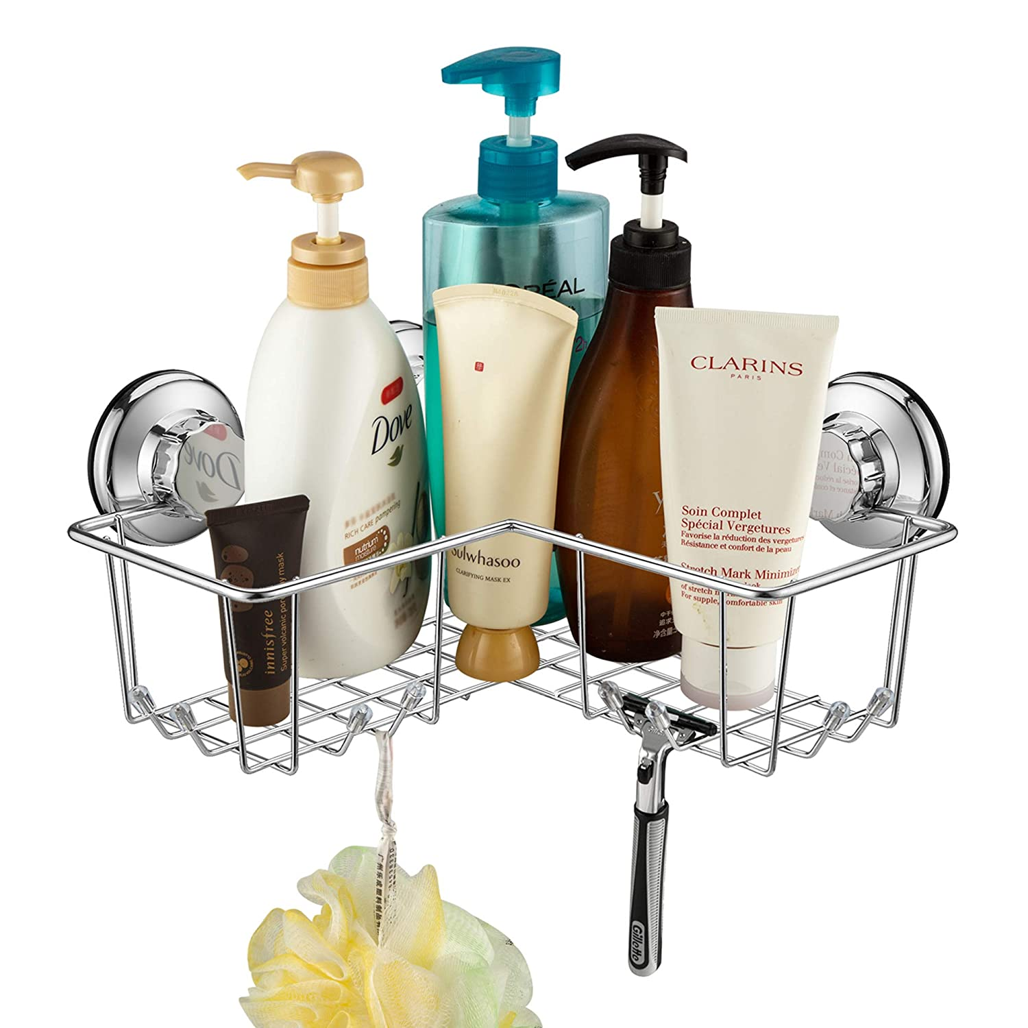 iPEGTOP Powerful Vacuum Suction Cup Corner Shower Caddy - Combo Organizer Basket Holder with 8 Hooks - Stainless Steel for Bathroom Storage APTL0015