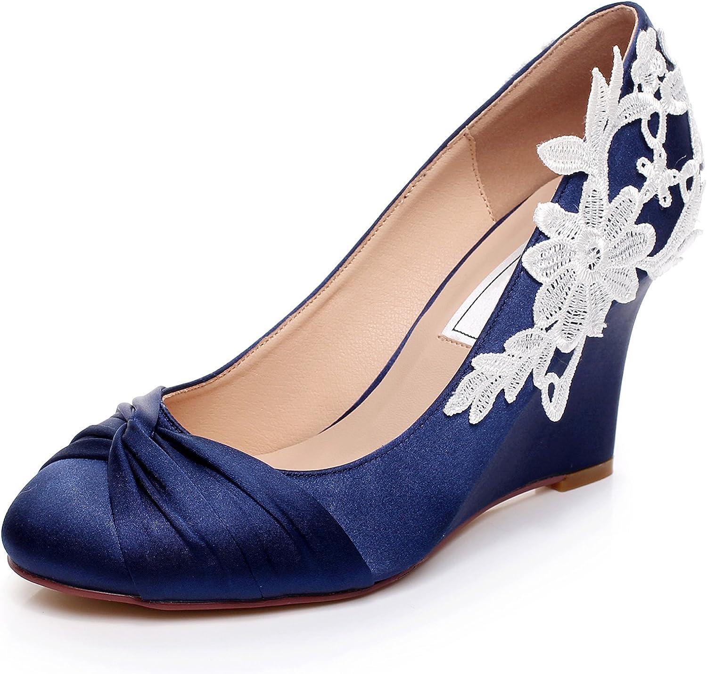 YOOZIRI Dark Blue Wedding Shoes Wedges