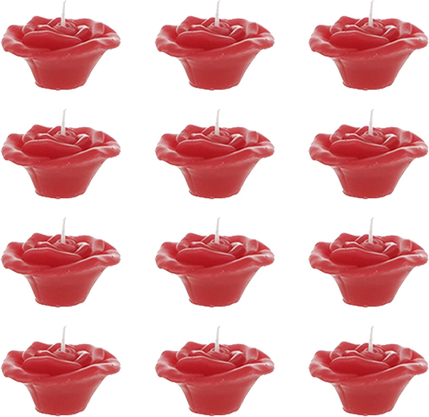 Home D/écor Mega Candles 12 pcs Unscented Red Floating Rose Petals Flower Candle Celebrations /& More Baby Showers Hand Poured Wax Candles 1.5 Inch Diameter Wedding Receptions Birthdays