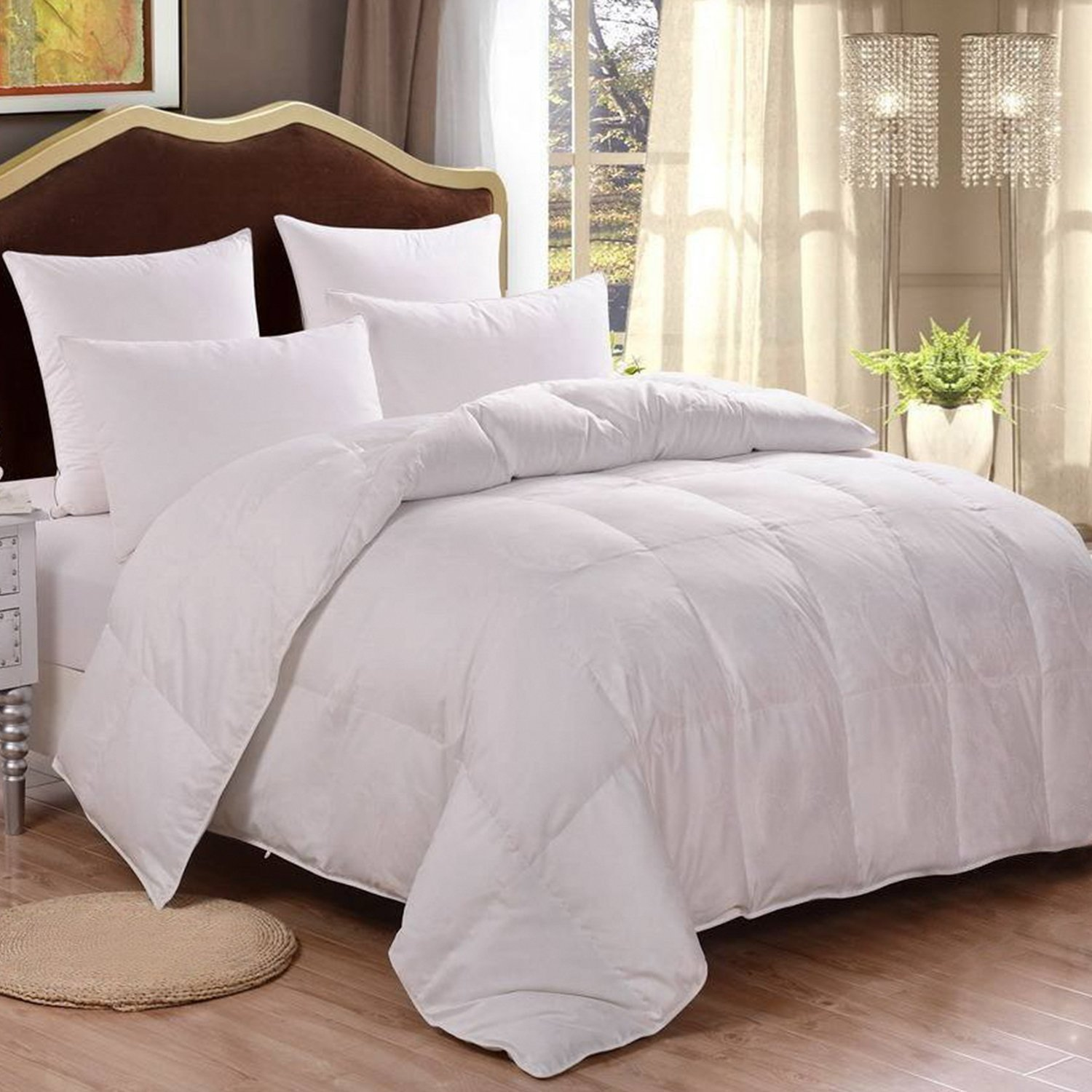 HOMFY Premium Cotton Comforter Queen,Quilted Comforter with Corner Tabs, Soft and Breathable (White, Queen)