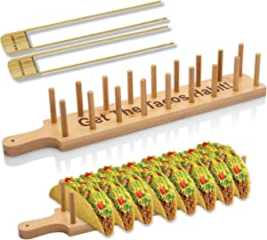 Bamboo Taco Holder Stand Plate Tray with 2 Tongs - Rack Holds 8 Soft or Hard Shell Tacos - Great also for Burritos and Tortillas Holder - Taco Holders Stands Taco Stand Taco Plate Plates Gift Bar Wood