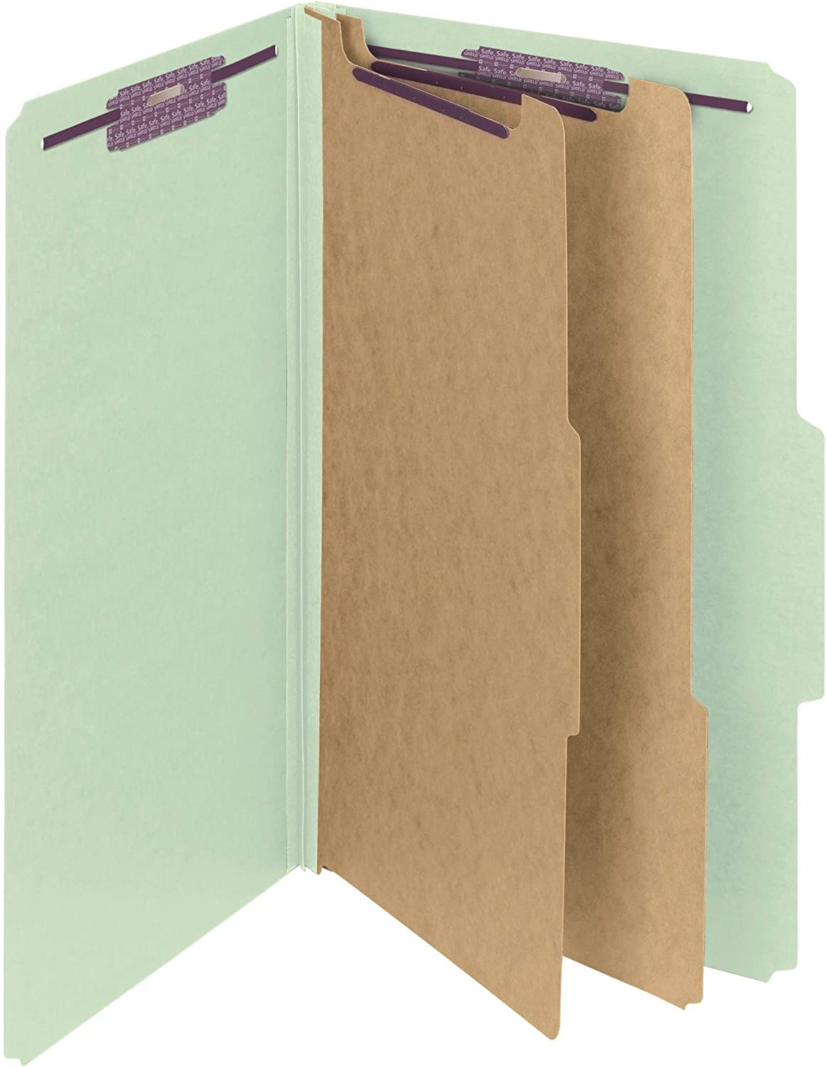 Smead PressGuard Classification File Folder with SafeSHIELD Fasteners 2 Expansion 14206 Gray//Green 10 per Box Letter Size 2 Dividers