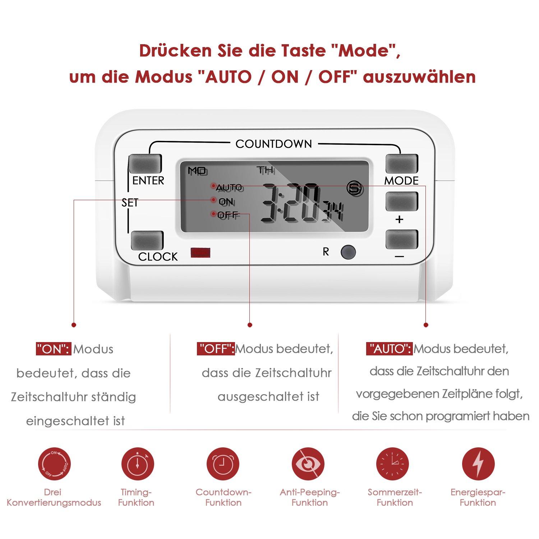 LCD-Display 3600W//230V 50HZ Wei/ß Sommersaison und Kindersicherung Simbr Zeitschaltuhr digititale lautlose Timer Steckdose mit 16 konfigurierbare Schaltprogramme Countdown-Funktion