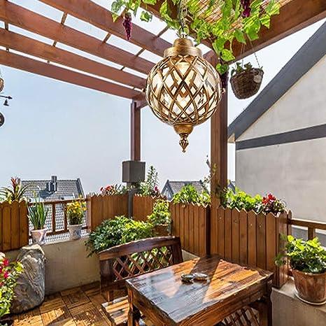 Lámpara colgante techo a prueba agua para jardín al aire libre rústico Victoria europeo E27 Lámpara colgante aluminio para colgar Globo Linterna vidrio Exterior Candelabros ajustables Iluminación: Amazon.es: Deportes y aire libre