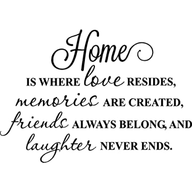 Ideogram Designs Home is where love resides memories are created friends always belong and laughter never ends cute wall art decor inspirational vinyl wall quote saying lettering stencil art