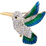 Charming EVER FAITH Austrian Crystal Enamel Flying Little Hummingbird Brooch Pin  Clear Gold Tone