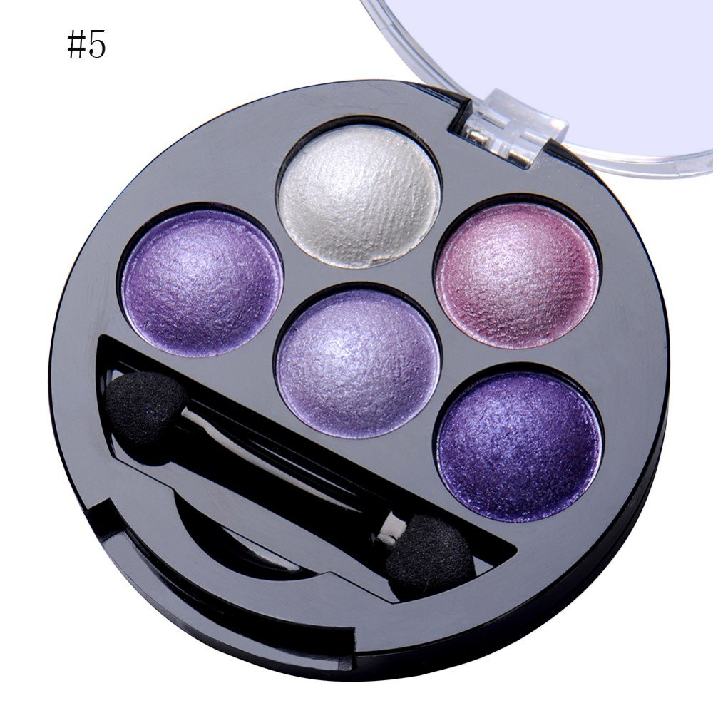 Newest trent 5 Colors Make up Eyeshadow Shimmer Eye Highlight Palette & Cosmetic Brush Makeup Set (#5 Purple)