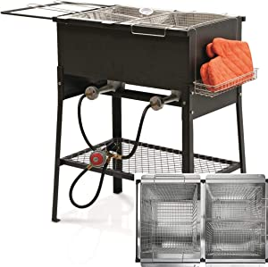 Triple 3 Basket Deep Fryer-Stainless Steel Propane Burner Cooker-Fry Oil Big Tank 6.3 Gallon Cap