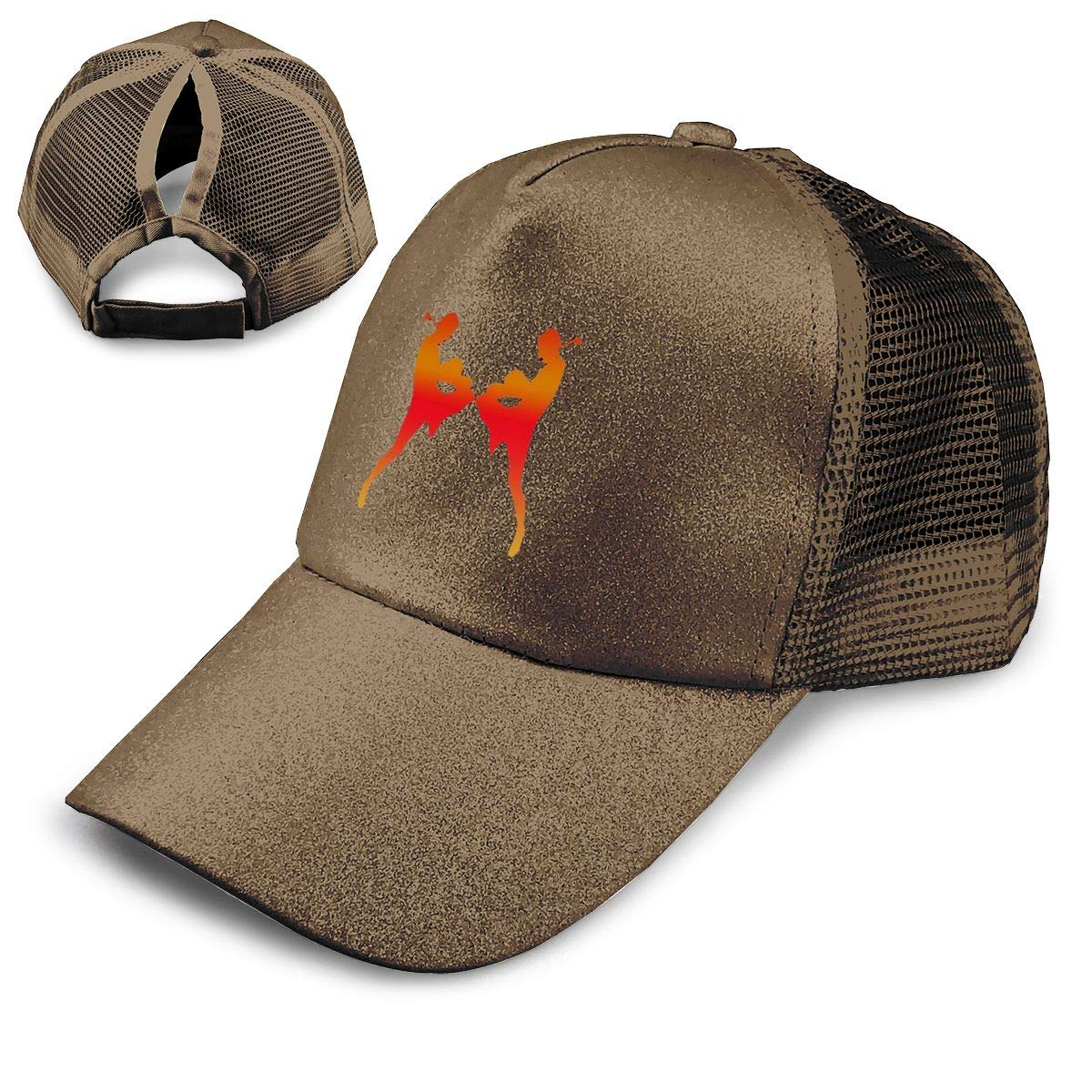 Kickboxing Ponytail Messy High Bun Hat Ponycaps Baseball Cap Adjustable Trucker Cap Mesh Cap