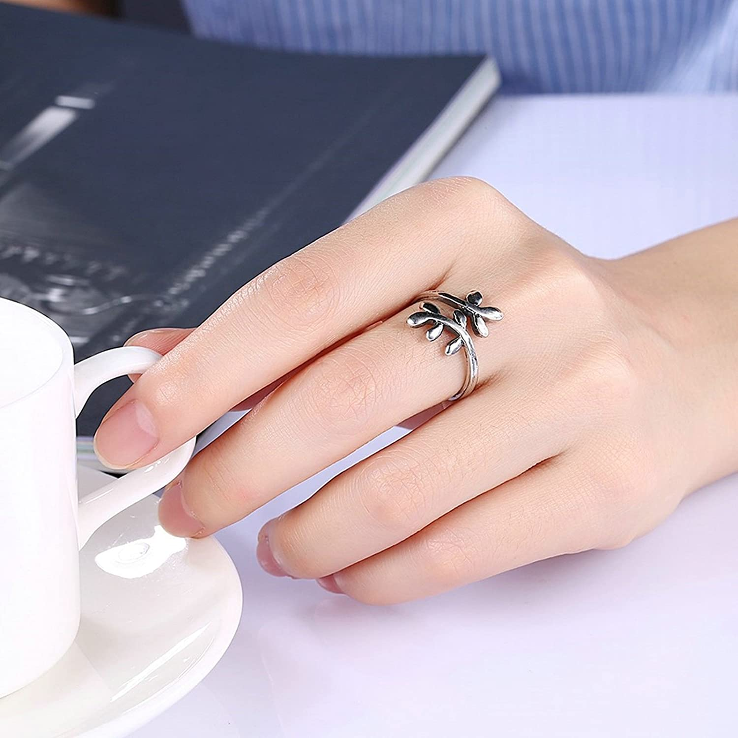 Amazon.com: Adisaer Women Rings Silver Plated Onyx Leavess Wedding ...