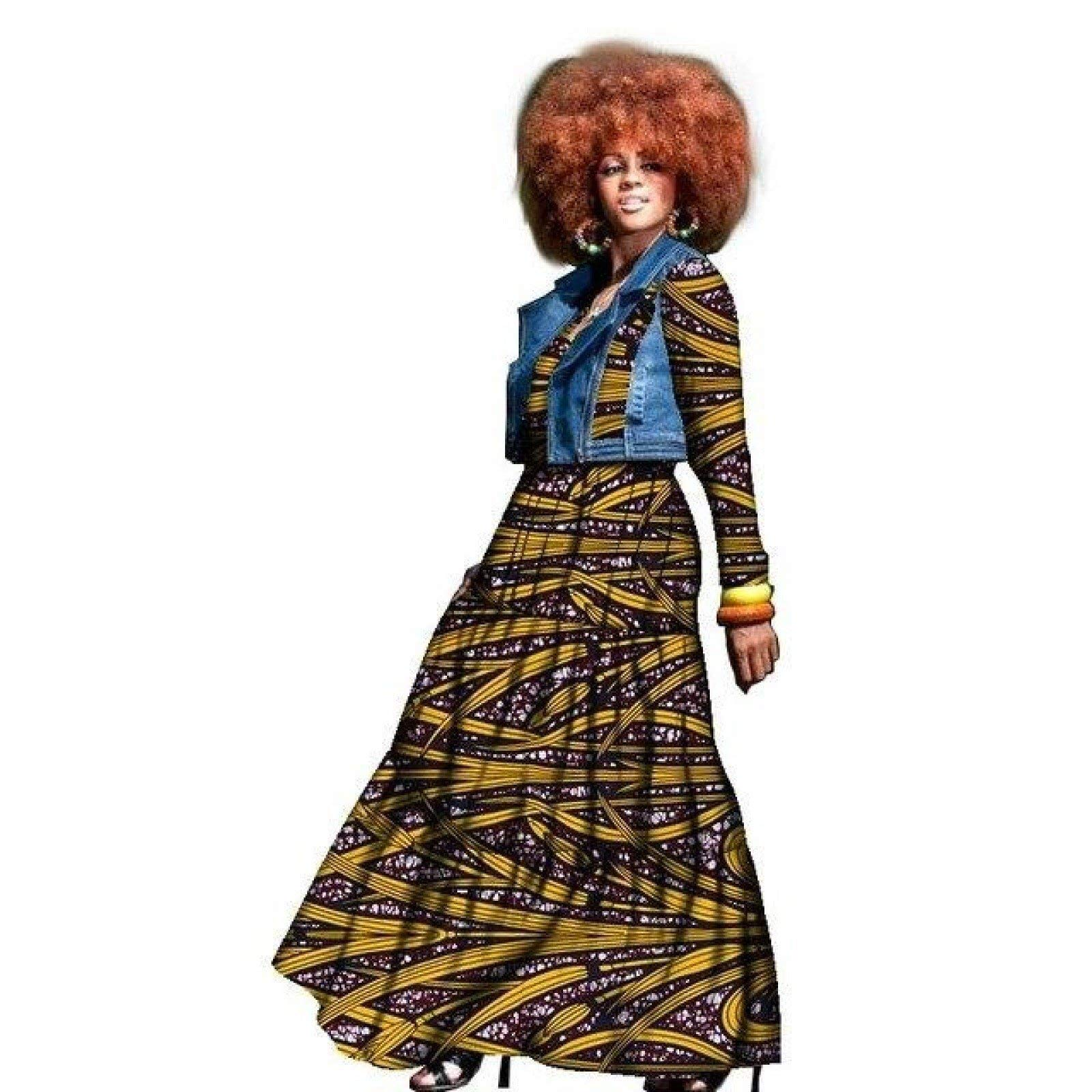 Traditional African Dress for Women 2-Pieces Set Clothing Dashiki Wax Print Plus