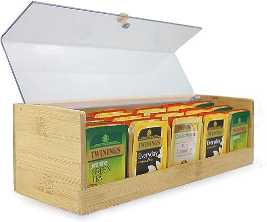 Caja de almacenamiento de té de bambú | Organizador de carrito de té de 5 compartimentos | Contenedor de té con tapa de acrílico transparente | M&W: Amazon.es: Hogar