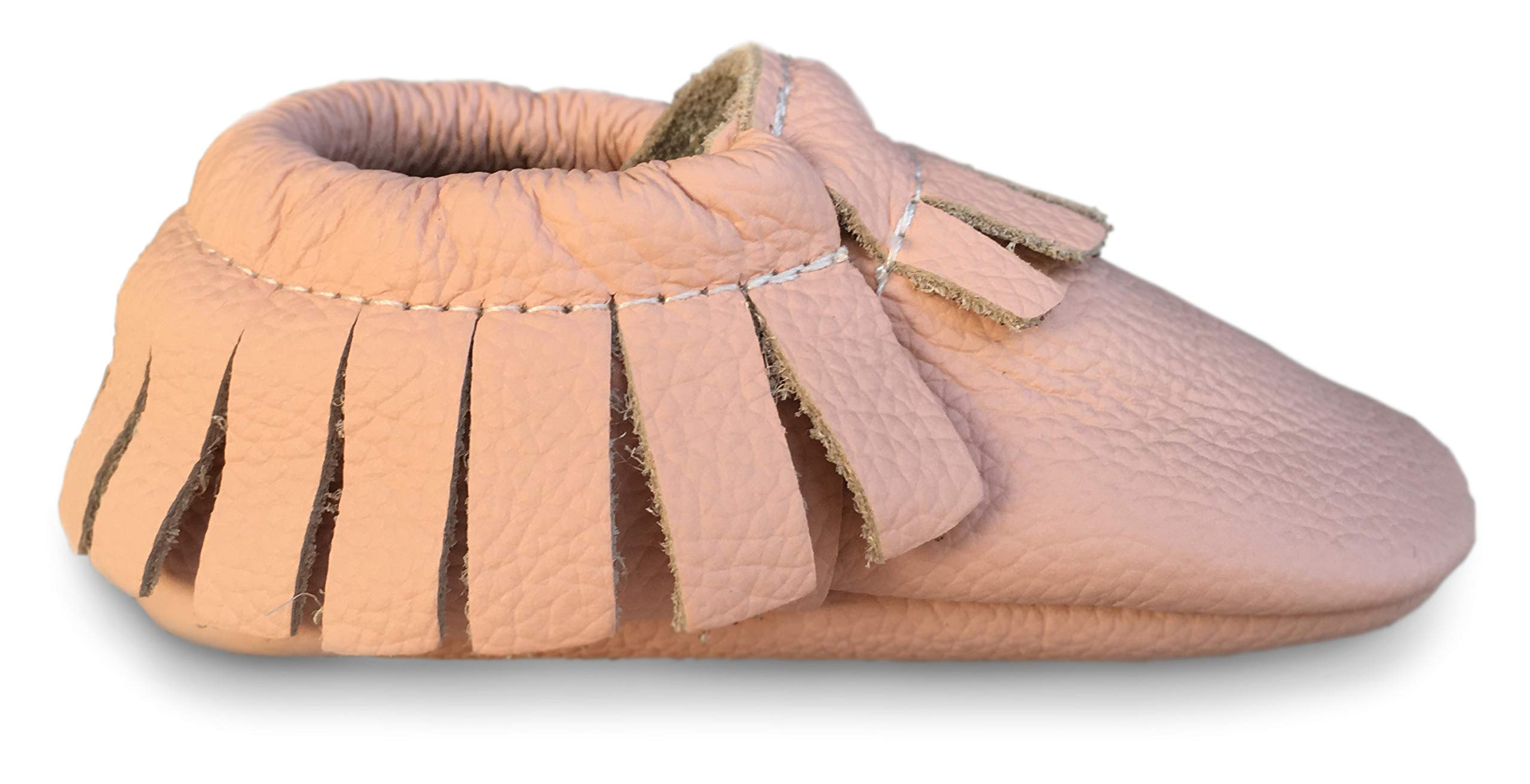 Lucky Love Baby Moccasins Premium Leather Infant, Baby & Toddler Shoes for Girls and Boys (6-12 Months | Size 3.5 US, Blush)