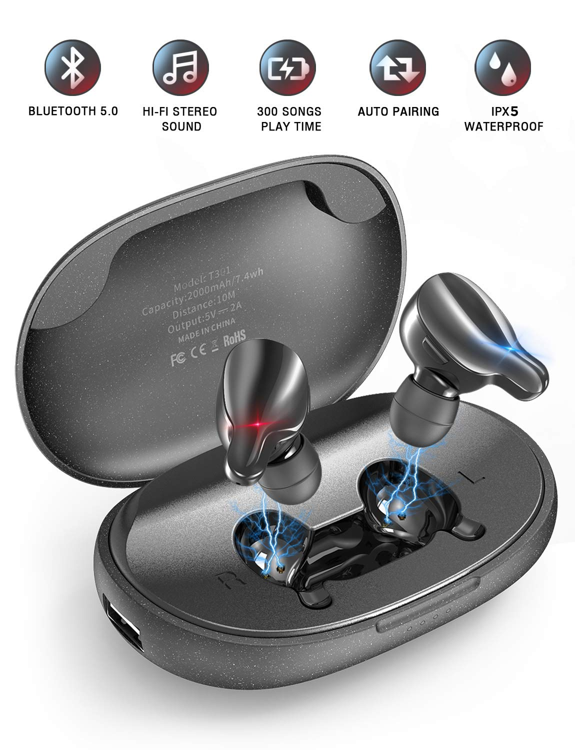 PeohZarr E-Pro Bluetooth Earbuds Wireless Earbuds with Deep Bass & 44 Hrs Playtime, Bluetooth 5.0 Wireless Headphones IPX5 Waterproof, 2000mAh Portable Charging Case