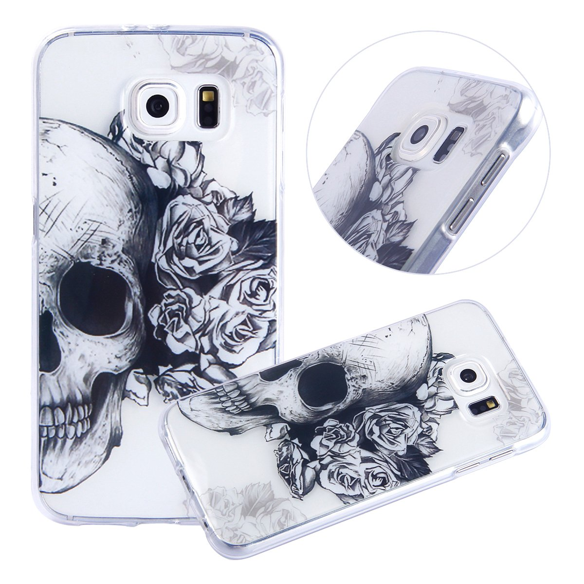 PHEZEN for Samsung Galaxy S6 Case, Samsung Galaxy S6 Clear Case, Cool Flower Skull Design Ultra Thin Anti-Scratch Flexible TPU Gel Rubber Soft Skin Silicone Protective Case Cover