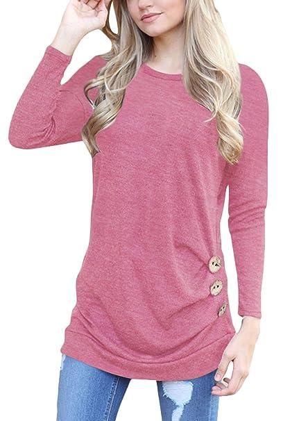Pine forest Camisetas Mujer Manga Larga Originales Basicas Color Sólido Blusas Elegantes Moda Casual Cuello Redondo