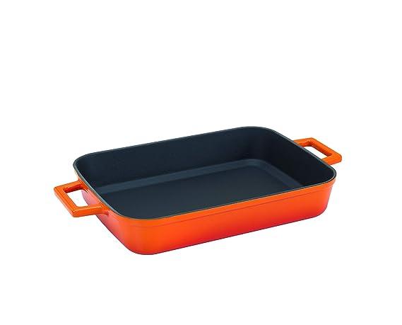 Ghisa Pentole Agnelli COGHSGP26260O Griglia Bicolore con Manico e Maniglia 26 x 26 cm Arancione