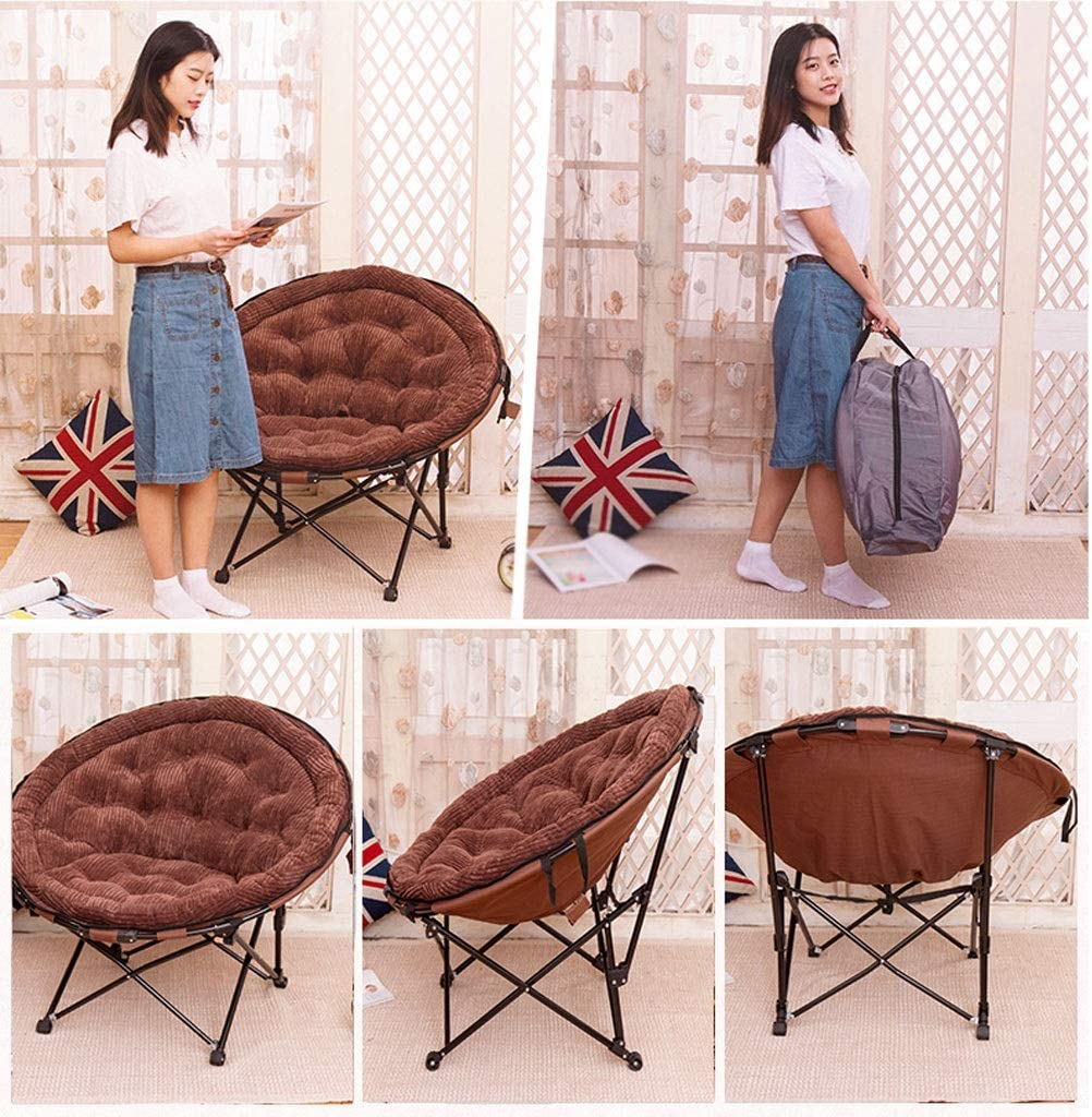 Folding chair Increase Detachable Back Lazy Home Lunch Break Outdoor Sofa Balcony Lounge Indoor 2 Color 566190cm MUMUJIN (Color : Brown) 61x6KMxqkxL