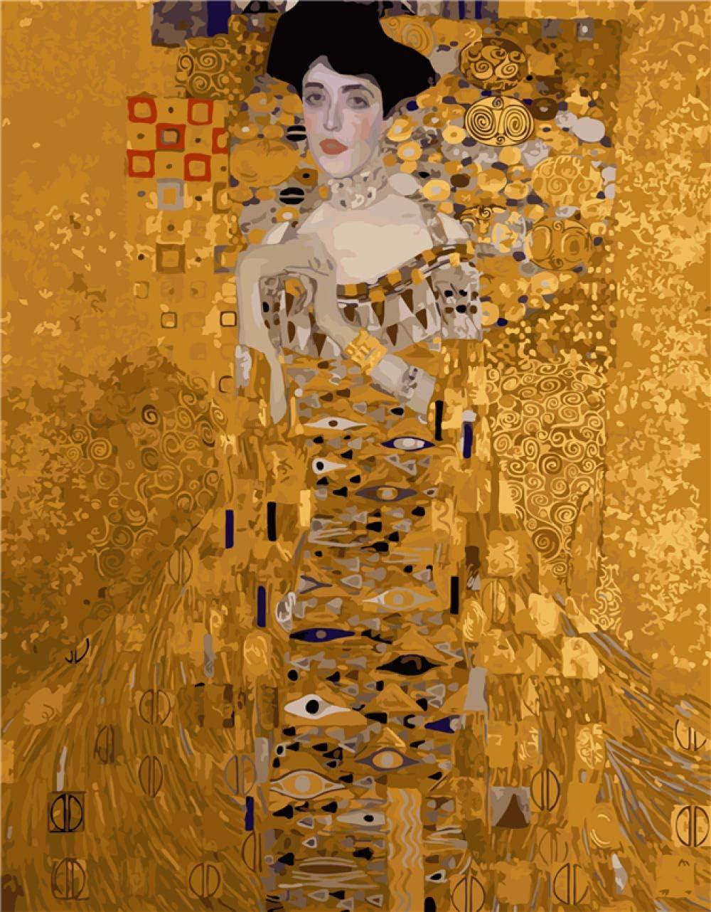 Huamrzhang Klimt Mme Bauer Photos Peinture par Num/éros Peint /À La Main Toile Dessin DIY Peinture /À lhuile par Num/éros
