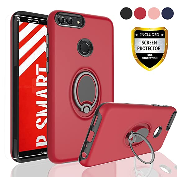 new style 92f6a 2b7a1 Huawei P Smart case, Huawei Enjoy 7S case with HD Screen Protector, Angxyy  Rotating Ring Holder Dual Layer Shock Bumper Cover for Huawei P Smart/Enjoy  ...