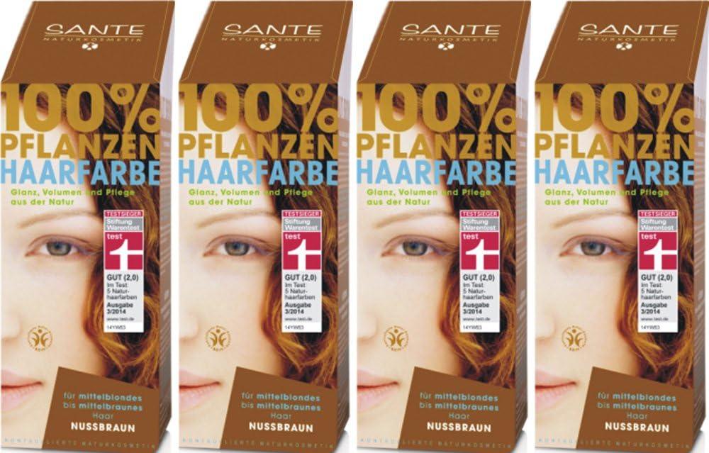SANTE Tinte para el pelo de las plantas, color nogal, 4 x 100 g