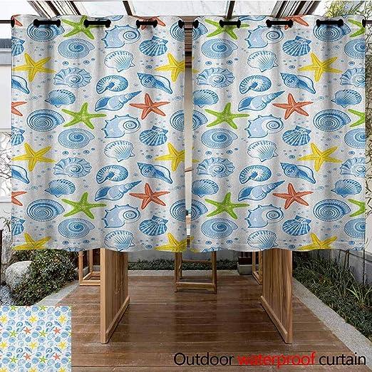AndyTours Cortina de pérgola, diseño de Animales Marinos, tiburón y Peces pequeños, Paisaje acuático de la Naturaleza, Arandelas para Dormitorio, Color Verde Azulado y Beige: Amazon.es: Jardín