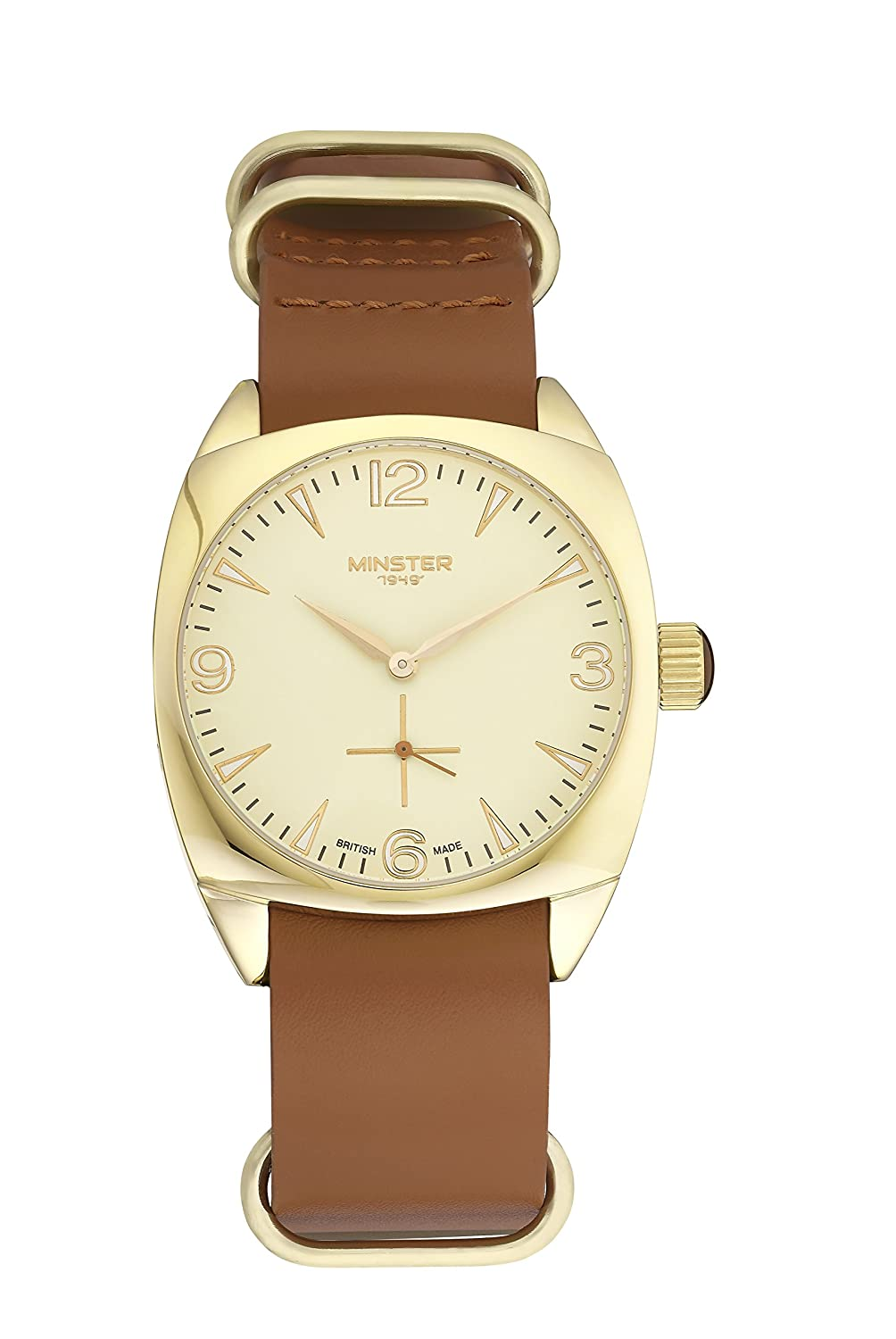 Tiffany Burlingham Uhr Gold Zifferblatt braun Leder Military Strap | British Made | MÜnster 1949
