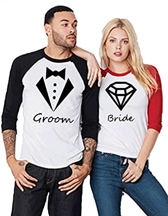 9ec21dd7 Amazon.com: Bride Groom-Diamond and Suit-Bridal Party Baseball Tee-Couple  Love Matching Jersey- His and Her T-Shirts: Clothing