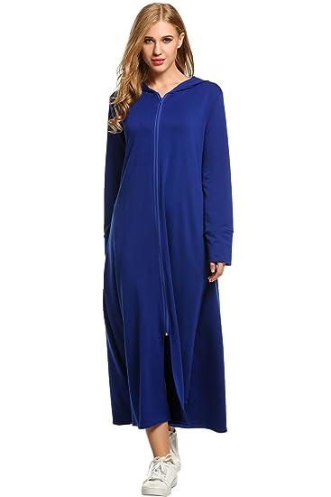Meaneor Women\'s Soft Plus Size Bathrobe Long Hooded Robe Dressing ...