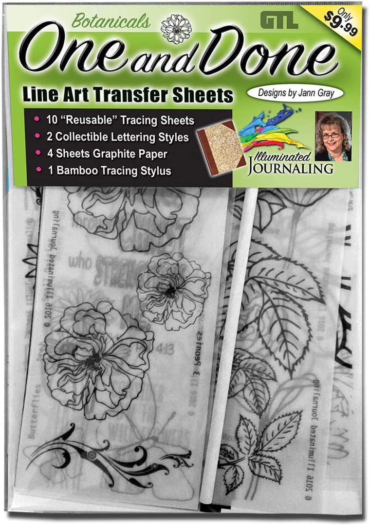G.T. Luscombe Company, Inc. One & Done Line Art Trace and Transfer Sheets – Botanicals   Reusable Line Art & Lettering Styles Transfer Sheets, Graphite Paper, Stylus   Bible Journaling Drawing Set