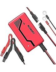 SUAOKI 1A 6V/12V Cargador de Batería Portátil, Mantenimiento Automático e Inteligente con Múltiples Protecciones para Coche, Motocicleta, Motocicleta, RV, Césped Tractor