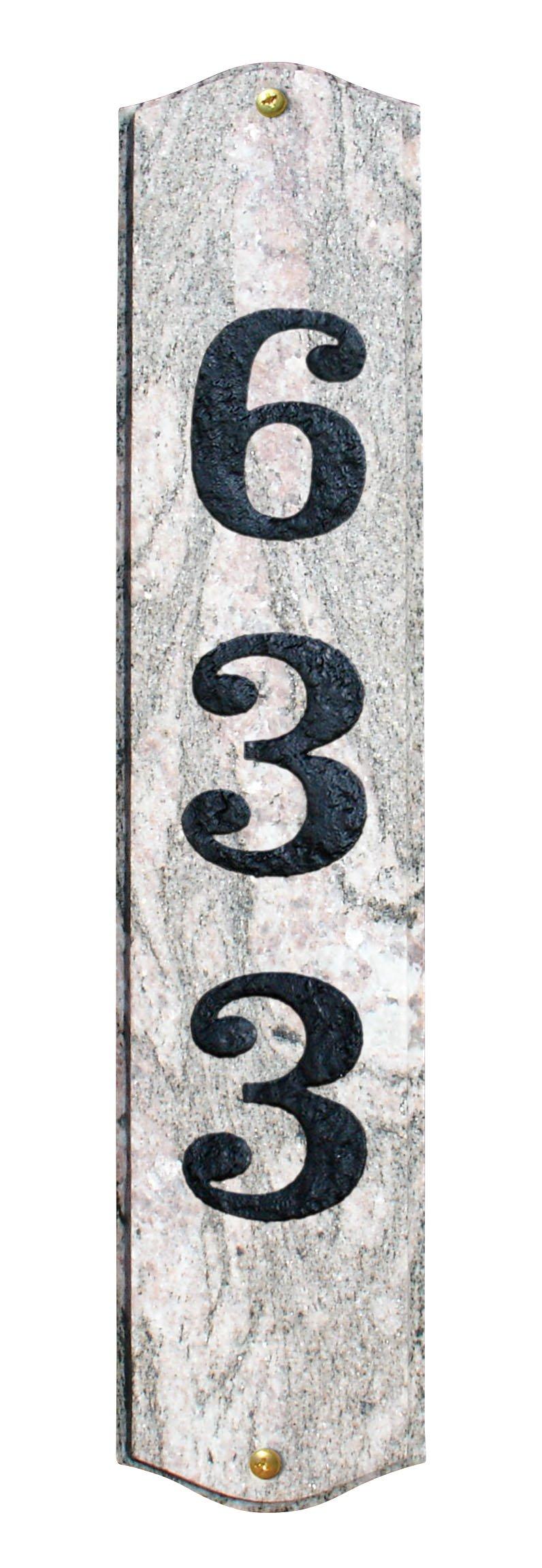 QualArc WEX-4719FC Wexford Vertical Granite Address Plaque in Five Color Natural Stone Color