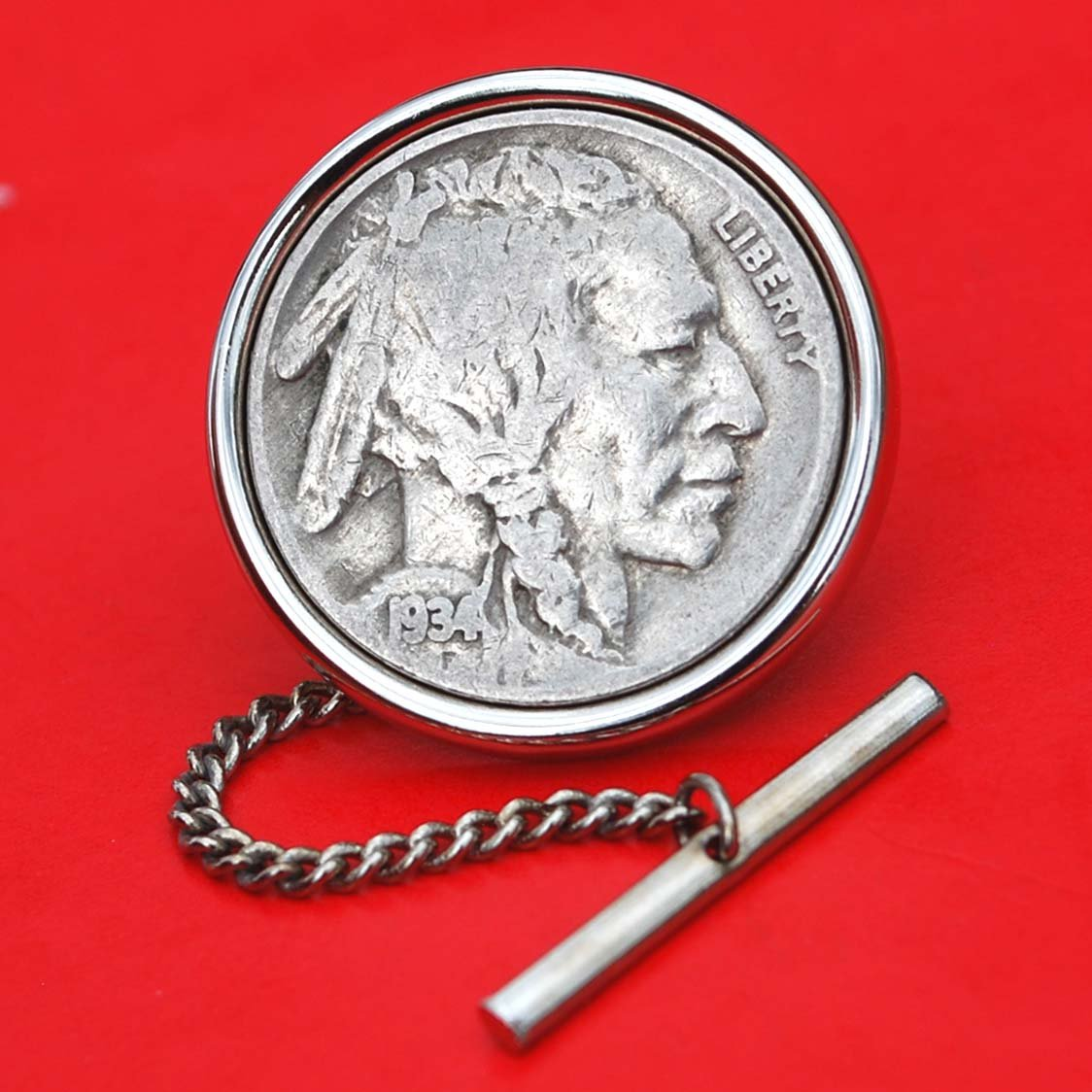 US 1934 Indian Head Buffalo Nickel Silver Plated Tie Tac Tack BRAND NEW