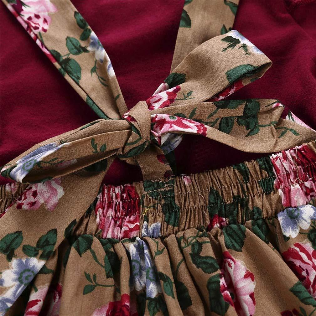 Toddler Baby Girl Infant Short Sleeve Summer Suspender Floral Skirt Outfit Set