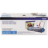 Brother Genuine Standard Yield Toner Cartridge, TN221C, Replacement Cyan Color Toner, Page Yield Up To 1,400 Pages…